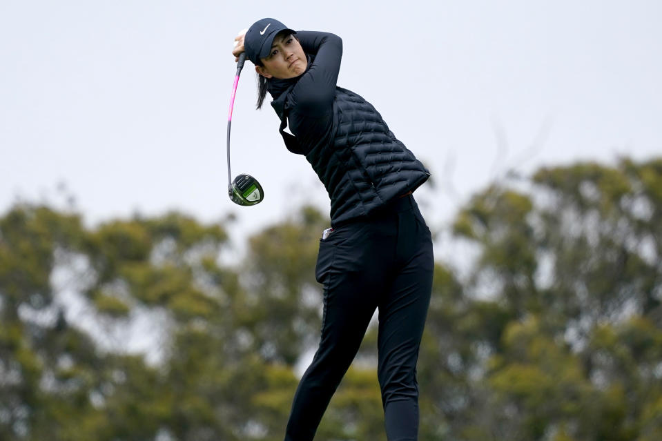 Michelle Wie West plays her shot from the second tee during the first round of the U.S. Women's Open golf tournament at The Olympic Club, Thursday, June 3, 2021, in San Francisco. (AP Photo/Jeff Chiu)