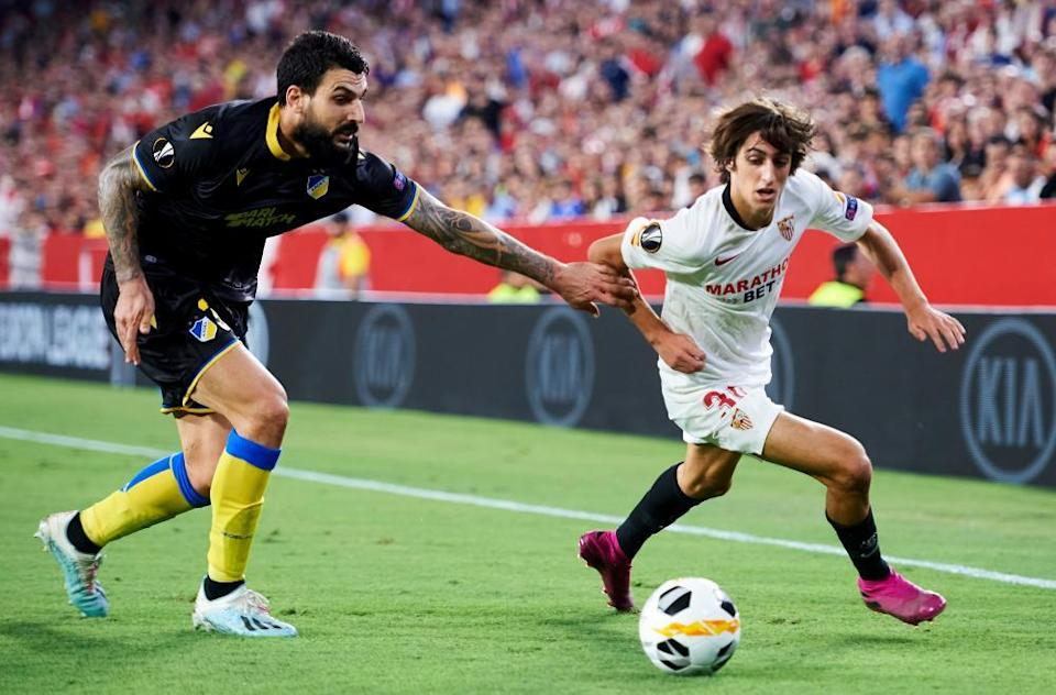 Bryan Gil in action for Sevilla against Apoel in the Europa League as an 18-year-old in October 2019.