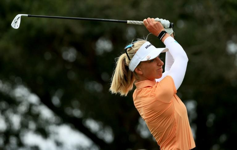 Germany's Sophia Popov hits her tee shot on the ninth hole during the opening round of the Pelican Women's Championship at Pelican Golf Club in Florida