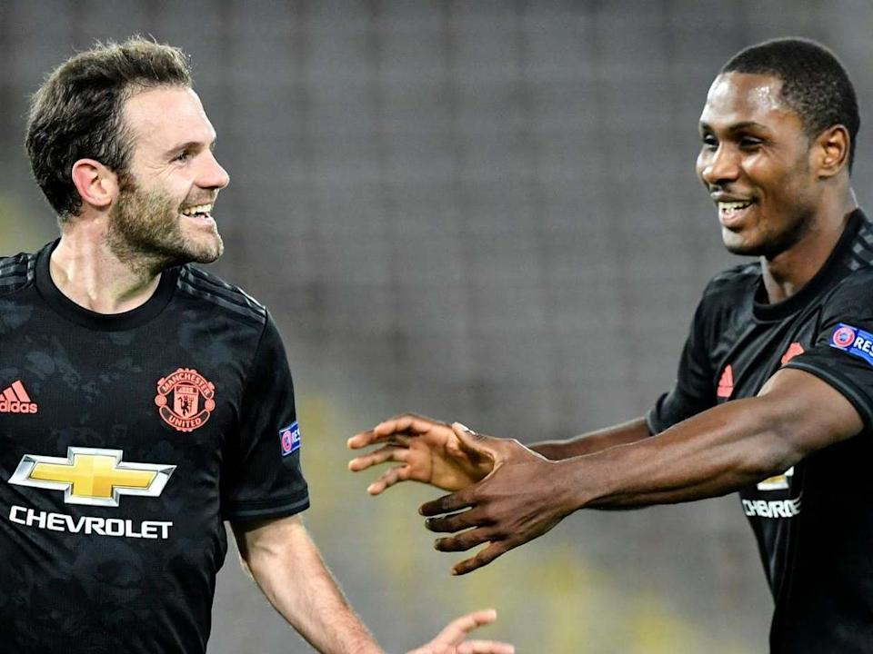 Mata and Ighalo celebrate: AP