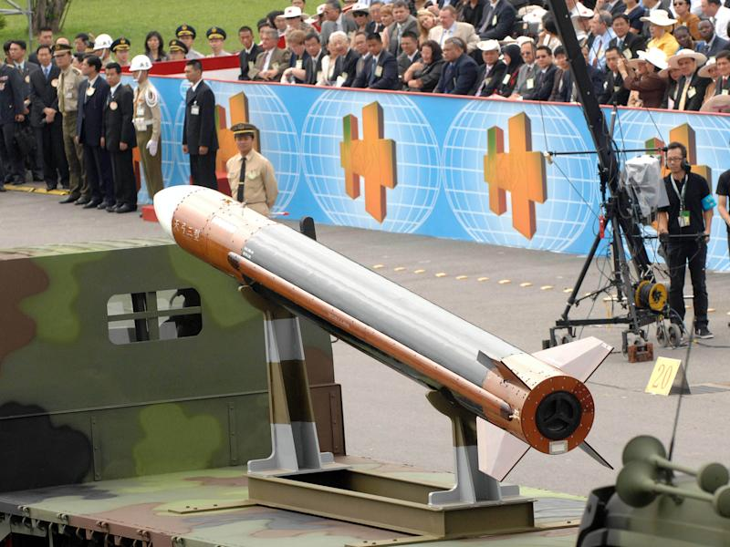 File photo taken on October 10, 2007 shows the Tien Kung 3 surface-to-air missile system during the National Day parade in Taipei
