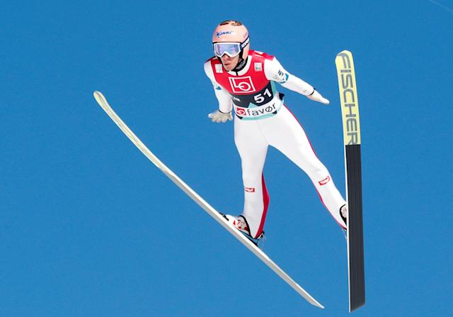 Ski Jumping - FIS World Cup - Men's HS240 Qualification - Vikersund, Norway - March 16, 2018 Stefan Kraft of Austria action. Terje Bendiksby/NTB Scanpix/via REUTERS ATTENTION EDITORS - THIS IMAGE WAS PROVIDED BY A THIRD PARTY. NORWAY OUT.