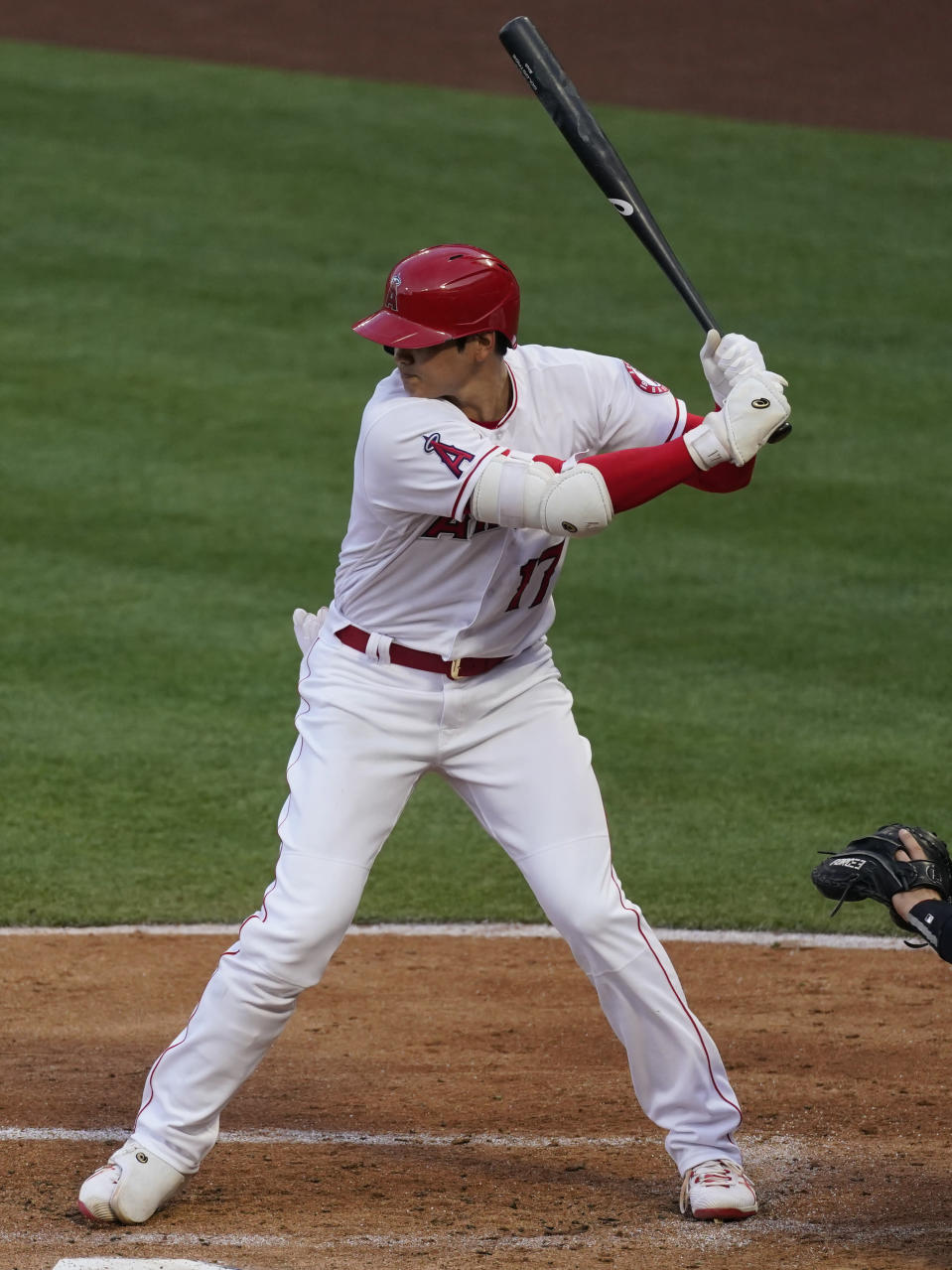 Los Angeles Angels' Shohei Ohtani (17) bats during the second inning of a baseball game against the Chicago White Sox Sunday, April 4, 2021, in Anaheim, Calif. (AP Photo/Ashley Landis)