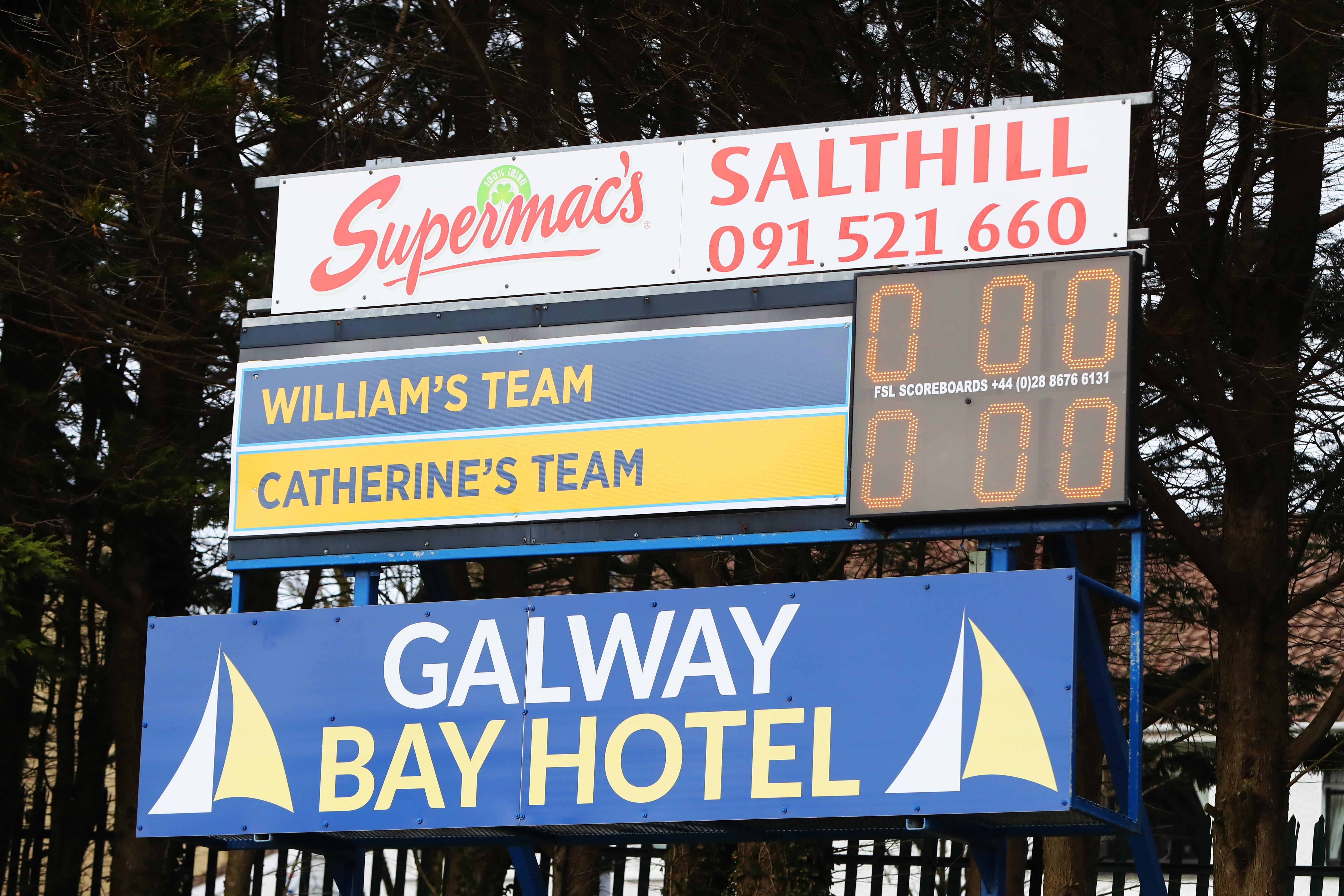 A special scoreboard lit up for the arrival of the Duke and Duchess of Cambridge for a visit to the club to learn more about traditional sports during the third day of their visit to the Republic of Ireland. PA Photo. Picture date: Thursday March 5, 2020. See PA story ROYAL Cambridge. Photo credit should read: Niall Carson/PA Wire