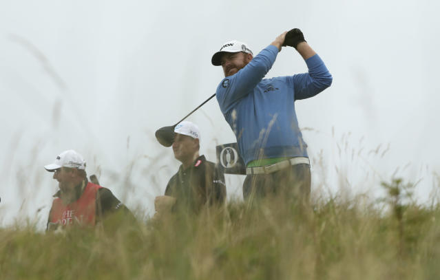 J.B. Holmes of the United States plays his shot off the 18th tee during the second round of the British Open Golf Championships at Royal Portrush in Northern Ireland, Friday, July 19, 2019.(AP Photo/Jon Super)