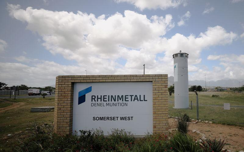 A corporate logo is seen outside the Rheinmetall Denel munitons plant near Cape Town, South Africa