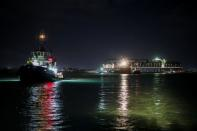 Giant container ship stranded in Suez Canal