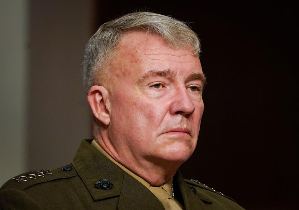 U.S. Central Command leader Gen. Frank McKenzie testifies on military operations in Afghanistan and future plans for counterterrorism operations before the Senate Armed Services Committee on Sept. 28, 2021.
