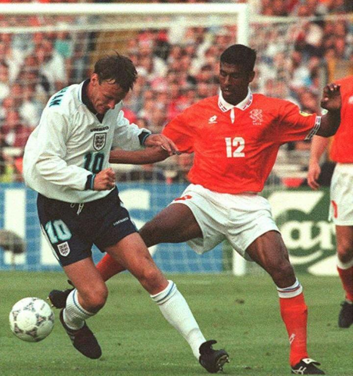 England's Teddy Sheringham helped destroy the Netherlands at Euro 96