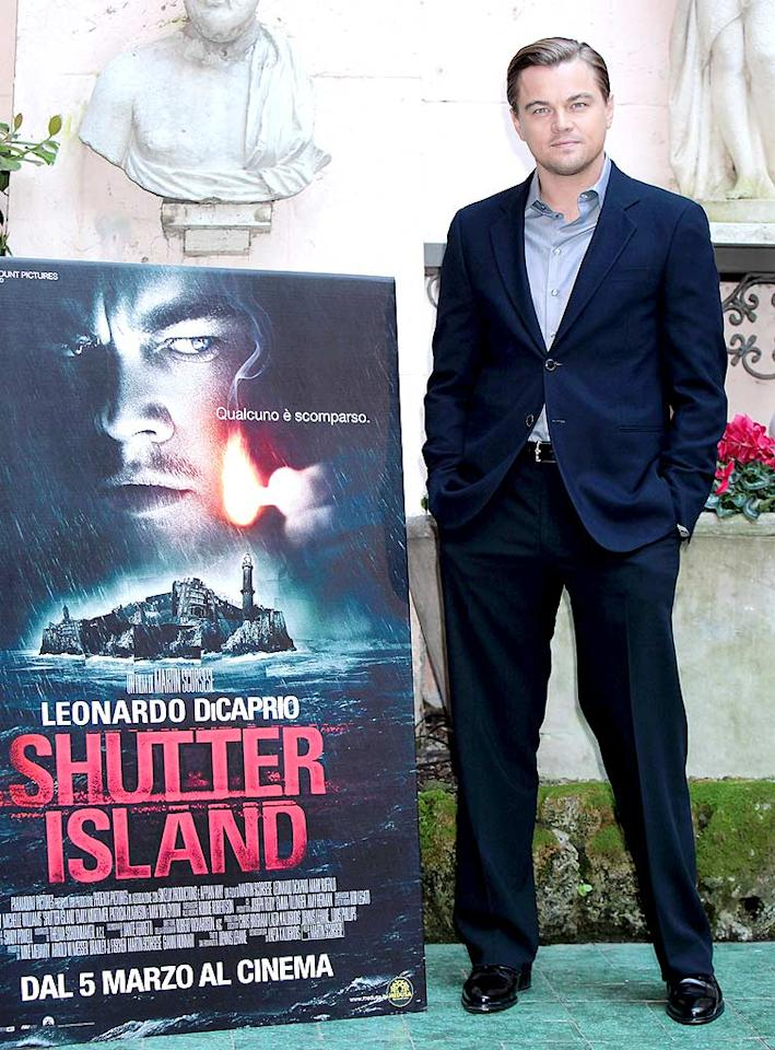 """At the Italian premiere of """"Shutter Island,"""" Leonardo DiCaprio kept it cool, calm, collected, and classy in a striking suit and his signature scruff. Elisabetta Villa/<a href=""""http://www.gettyimages.com/"""" target=""""new"""">GettyImages.com</a> - February 8, 2010"""