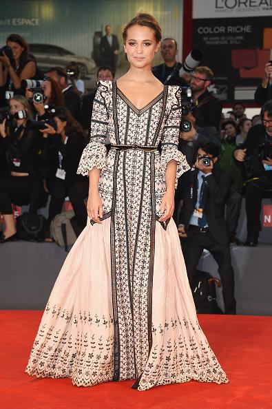 <p>Alicia looked like she could float down 'The Danish Girl' red carpet in this Louis Vuitton gown. <i>[Photo: Getty] </i></p>