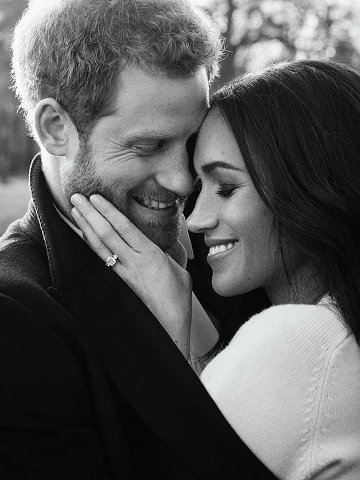 <p>The official engagement photos for the royal couple are here — and they are stunning. This black-and-white shot, photographed at Frogmore House in December, perfectly captures the love and beauty of both subjects — and Markle's ring. We can't wait for the wedding. (Photo: Alexi Lubomirski via Getty Images) </p>