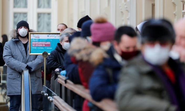 People line up to receive a dose of Sputnik V (Gam-COVID-Vac) vaccine against the coronavirus disease (COVID-19) in Moscow