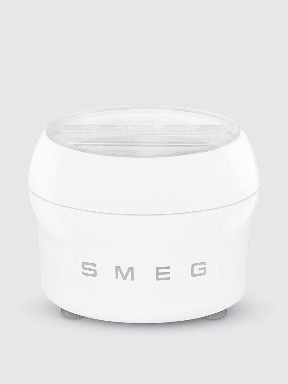 """<p><strong>Smeg</strong></p><p>verishop.com</p><p><strong>$79.99</strong></p><p><a href=""""https://go.redirectingat.com?id=74968X1596630&url=https%3A%2F%2Fwww.verishop.com%2Fsmeg%2Fkitchen-tools-accessories%2Fice-cream-maker-accessory%2Fp4798800035863&sref=https%3A%2F%2Fwww.thepioneerwoman.com%2Ffood-cooking%2Fg36080315%2Fbest-ice-cream-makers%2F"""" rel=""""nofollow noopener"""" target=""""_blank"""" data-ylk=""""slk:Shop Now"""" class=""""link rapid-noclick-resp"""">Shop Now</a></p><p>If you already have a SMEG stand mixer, this is just for you. With this attachment you can also create yummy frozen desserts for summer. </p>"""