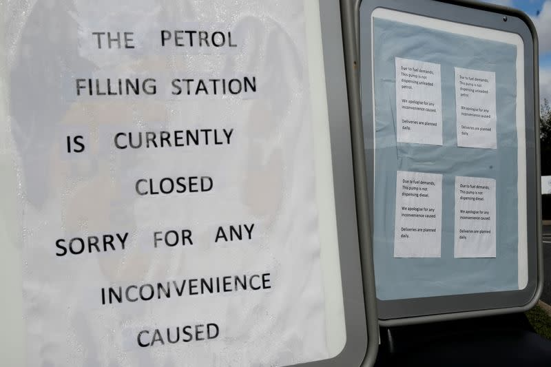FILE PHOTO: Sign outside a Tesco petrol station that has run out of fuel, in Hemel Hempstead