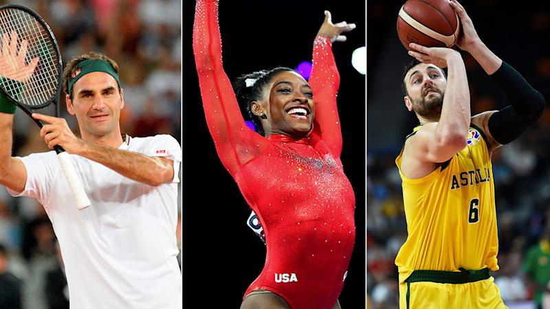 Pictured here, Roger Federer Simone Biles and Andrew Bogut.