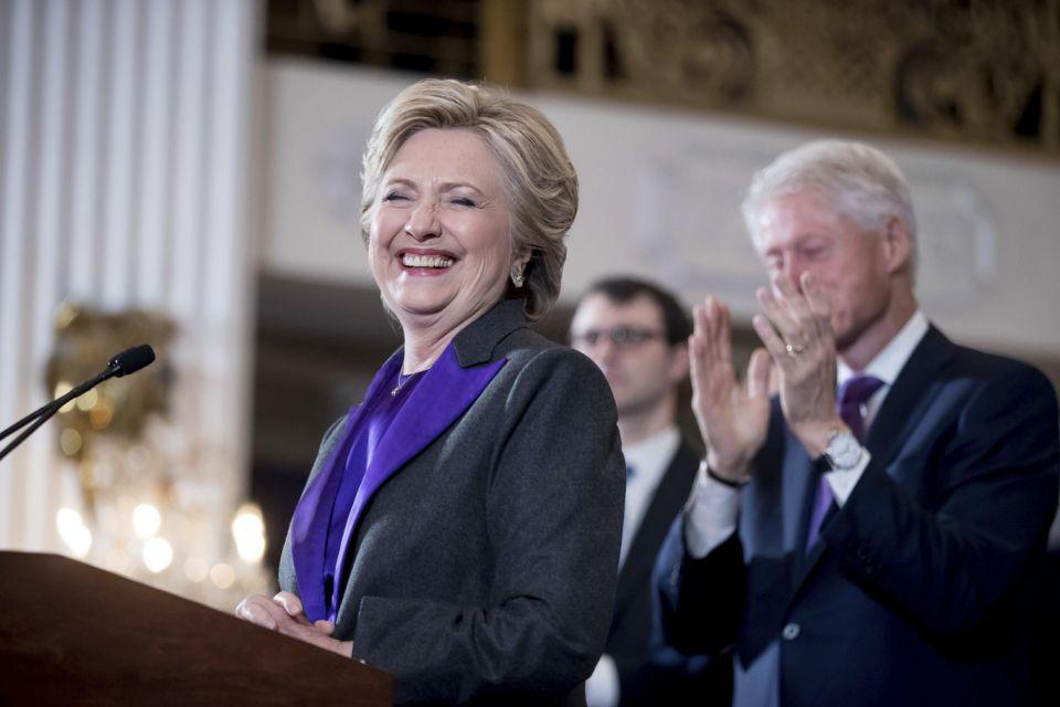 Clinton during her speech following her election defeat. Photo: AAP