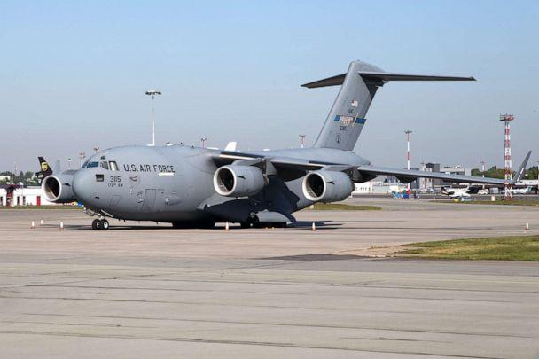 PHOTO: U. S. Airforce plane seen at the Warsaw Airport. (Jp Black/LightRocket via Getty Images)