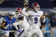 Louisiana Tech quarterback Luke Anthony (9) throws a pass during the first half of the team's NCAA college football game against BYU on Friday, Oct. 2, 2020, in Provo, Utah. (AP Photo/Rick Bowmer, Pool)