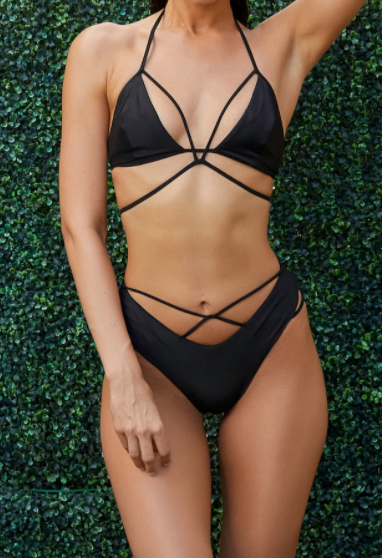 Keva J Swimwear The Raven String Bikini Set in Black