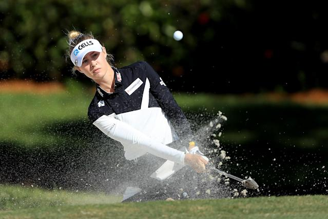 """<h1 class=""""title"""">nelly korda CME Group Tour Championship - Round One</h1> <div class=""""caption""""> NAPLES, FLORIDA - NOVEMBER 21: Nelly Korda of the United States plays a shot from a bunker on the sixth hole during the first round of the CME Group Tour Championship at Tiburon Golf Club on November 21, 2019 in Naples, Florida. (Photo by Sam Greenwood/Getty Images) </div> <cite class=""""credit"""">Sam Greenwood</cite>"""