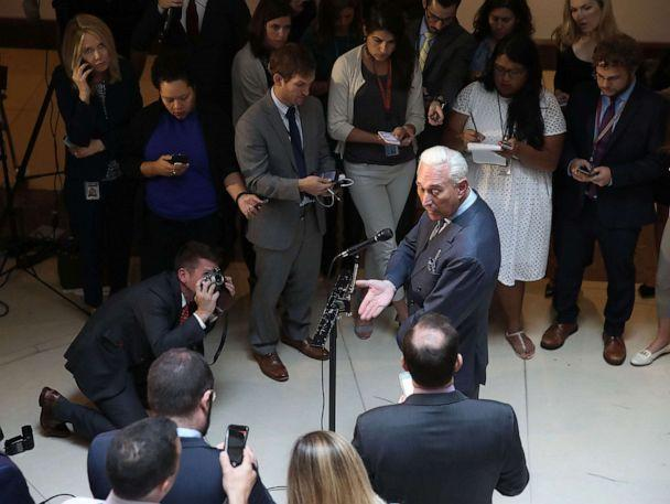PHOTO: Roger Stone, former confidant to President Donald Trump speaks to the media after appearing before the House Intelligence Committee during a closed door hearing on Russian interference in the 2016 election, Sept. 26, 2017 in Washington, D.C.  (Mark Wilson/Getty Images)
