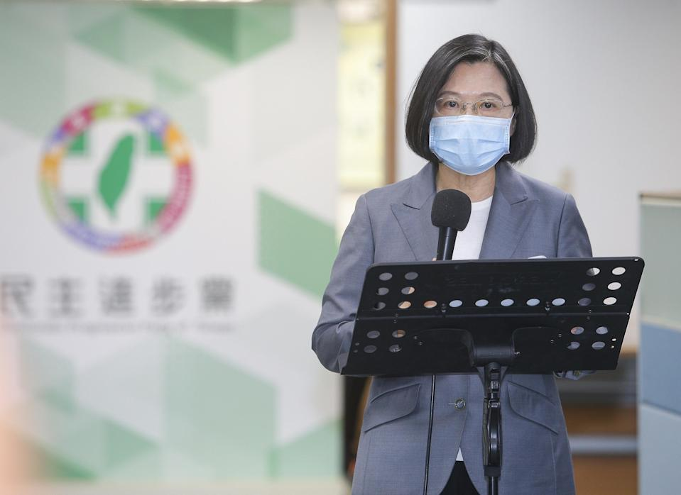<p>President Tsai Ing-wen speaks at a press conference on Wednesday, Aug. 19, 2020. (Photo courtesy of CNA)</p>