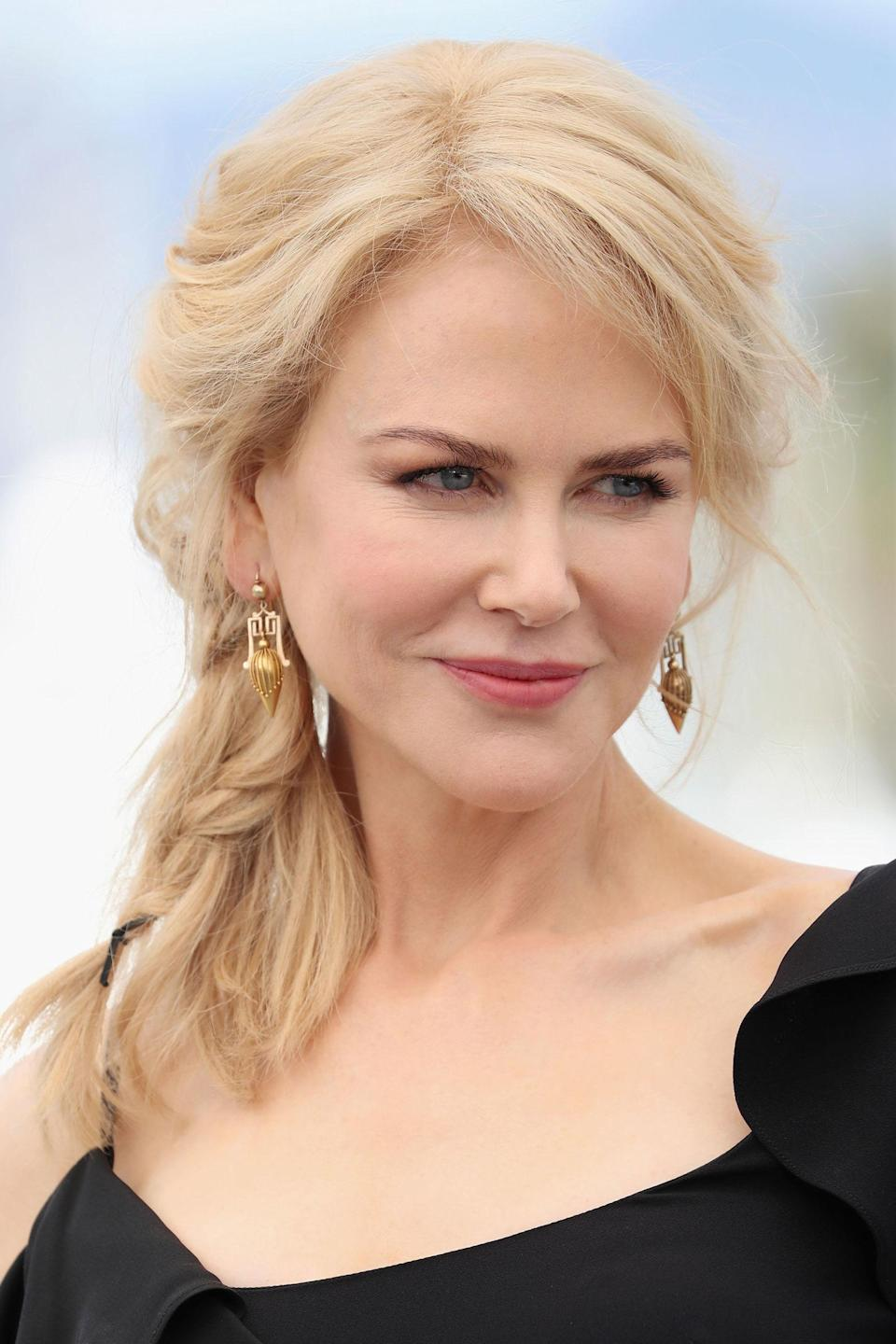 """<p>Kidman's undone side braid is yet another example of the <a rel=""""nofollow noopener"""" href=""""http://www.harpersbazaar.co.uk/beauty/beauty-shows-trends/news/g37977/cannes-beauty-trend-natural-hair/"""" target=""""_blank"""" data-ylk=""""slk:nonchalant hair trend"""" class=""""link rapid-noclick-resp"""">nonchalant hair trend</a> taking over the Cannes red carpet.</p>"""