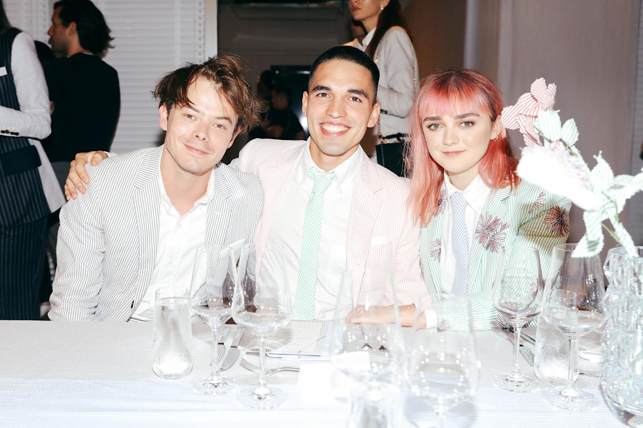 Charlie Heaton,  Rueben Selby, and Maisie Williams attend the thom browne x neuehouse dinner at Neuehouse in New York City.