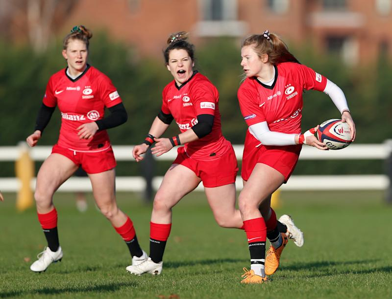 Zoe Harrison in action for Saracens / Credit: Matt Impey, Wired Photos
