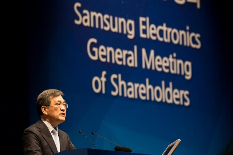 Kwon Oh-Hyun, board chairman of Samsung Electronics Co., speaks during the company's annual general meeting in Seoul on March 24, 2017