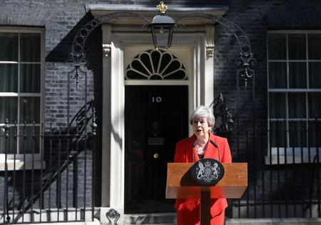 British Prime Minister Theresa May delivers a statement in London, Britain, May 24, 2019. REUTERS/Simon Dawson