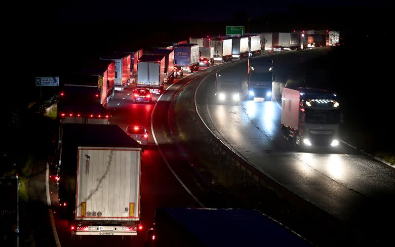 Lorries queue to enter the Port of Dover