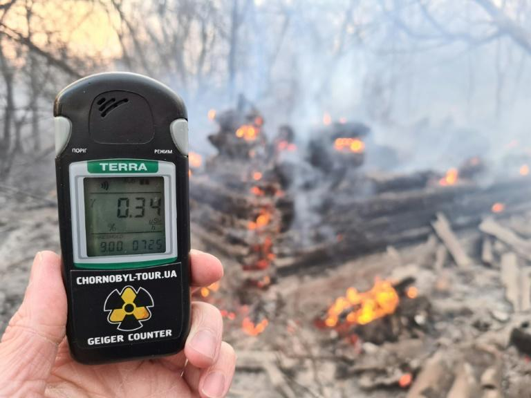 A Geiger counter reading at the scene of a forest fire in the Chernobyl exclusion zone on Monday