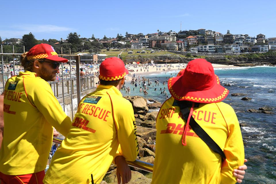 Lifeguards watching people swim in Bondi