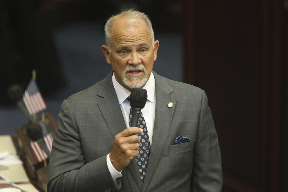 Rep. Bobby Payne, R-Palatka, presents a gambling bill during a special session, Wednesday, May 19, 2021, in Tallahassee, Fla. (AP Photo/Steve Cannon)