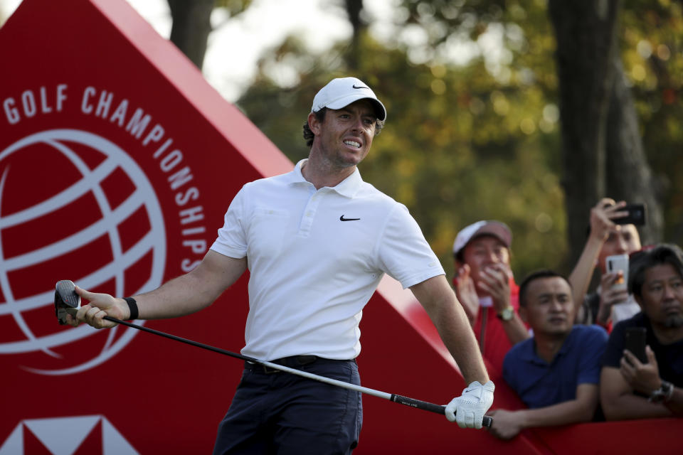FILE - In this Sunday, Nov. 3, 2019, file photo, Rory McIlroy of Northern Ireland looks out after teeing off for the HSBC Champions golf tournament at the Sheshan International Golf Club in Shanghai. China has canceled all sporting events, such as golf and tennis, for the rest of 2020 because of the coronavirus. (AP Photo/Ng Han Guan, File)