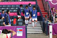 """<p>After an awkward flag mix-up, in which <a href=""""https://www.sportskeeda.com/football/flag-blunder-delays-north-korea-football-game"""" rel=""""nofollow noopener"""" target=""""_blank"""" data-ylk=""""slk:the South Korean flag was shown next to the North Korean women's soccer team in a video package"""" class=""""link rapid-noclick-resp"""">the South Korean flag was shown next to the North Korean women's soccer team in a video package</a>, the North Korean team was upset. They refused to play for an hour, delaying the start of their match against Colombia.</p>"""