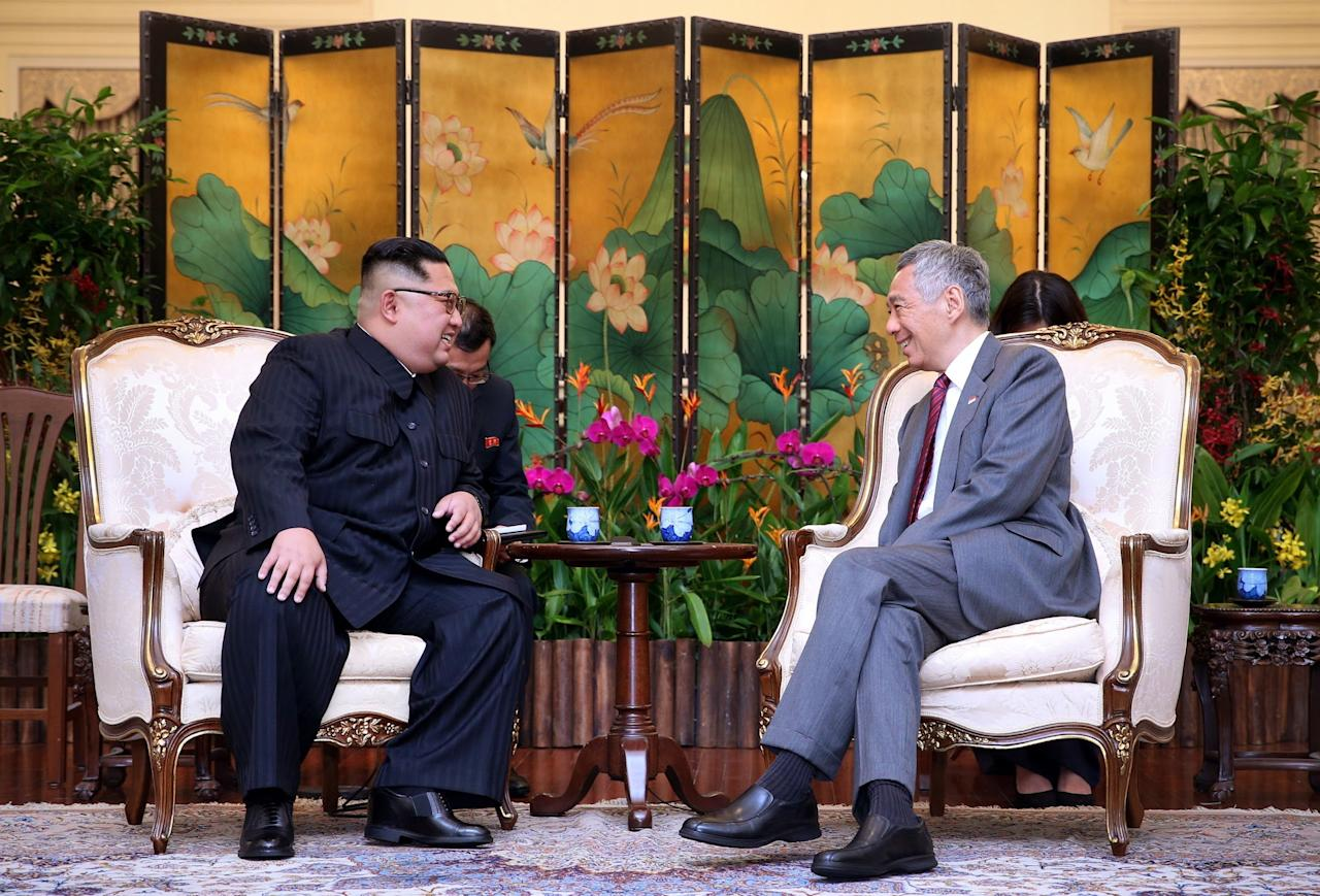 <p>North Korean leader Kim Jong Un meets Singapore Prime Minister Lee Hsien Loong at the Istana on 10 June, 2018. (PHOTO: Ministry of Communications and Information, Singapore </p>