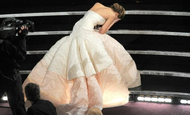 Jennifer Lawrence was an awfully good sport about this unfortunate tumble.