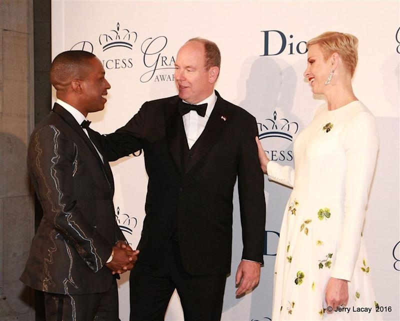 Leslie Odom Jr with Prince Albert and Princess Charlene of Monaco at the Princess Grace Foundation USA Gala on Oct 16 in NYC. | Jerry Lacay/Princess Grace Foundation