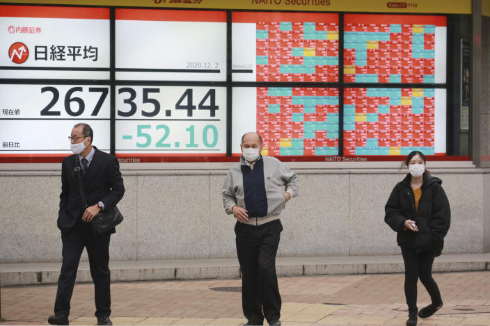 People walk by an electronic stock board of a securities firm in Tokyo, Wednesday, Dec. 2, 2020. Asian markets are mixed after the U.S. benchmark S&P 500 set another record. (AP Photo/Koji Sasahara)