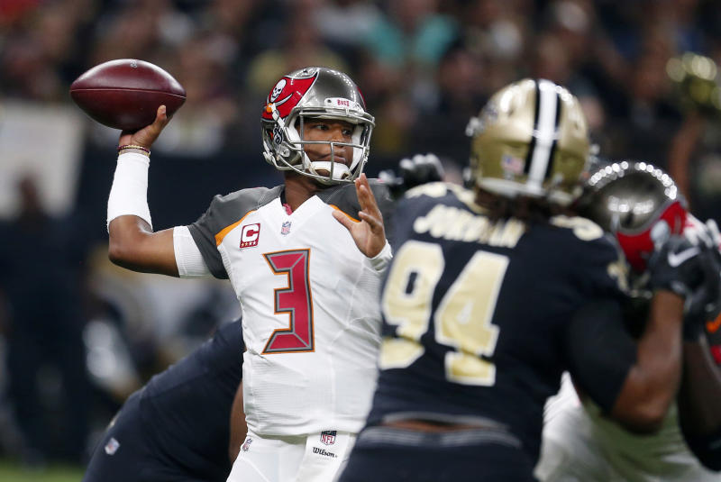 Tampa Bay Buccaneers quarterback Jameis Winston tried to fire up his teammates before a game against the Saints. (AP)
