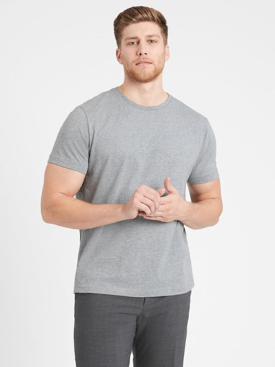 <p>Provide a soft option to a well-worn tee right out of the gift box with this top-rated <span>Banana Republic Authentic Supima Cotton Crew-Neck T-Shirt</span> ($27).</p>