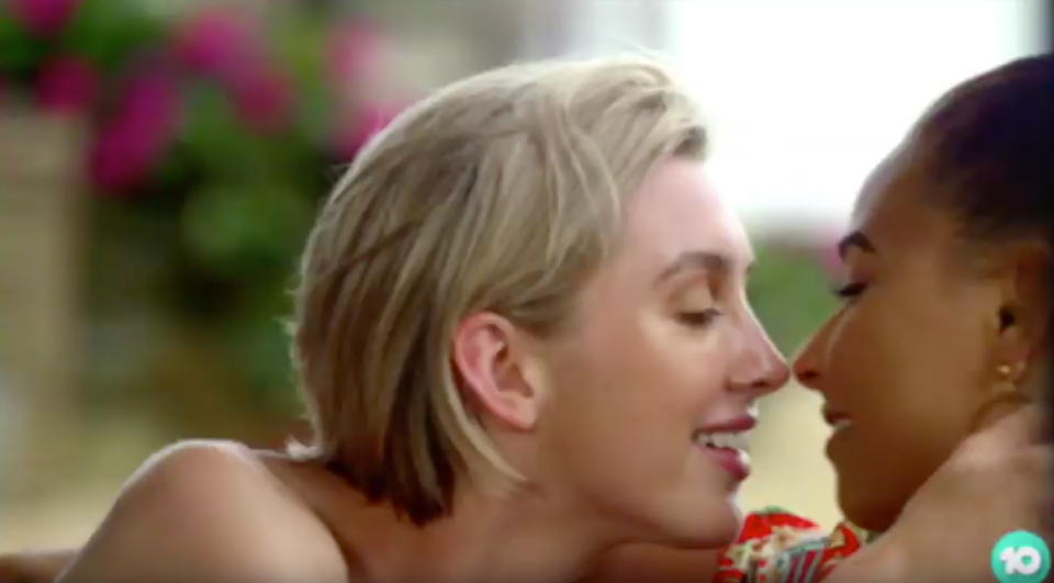 Alex Nation and Brooke Blurton look close to kissing in the new Bachelor In Paradise promo. Photo: Channel Ten