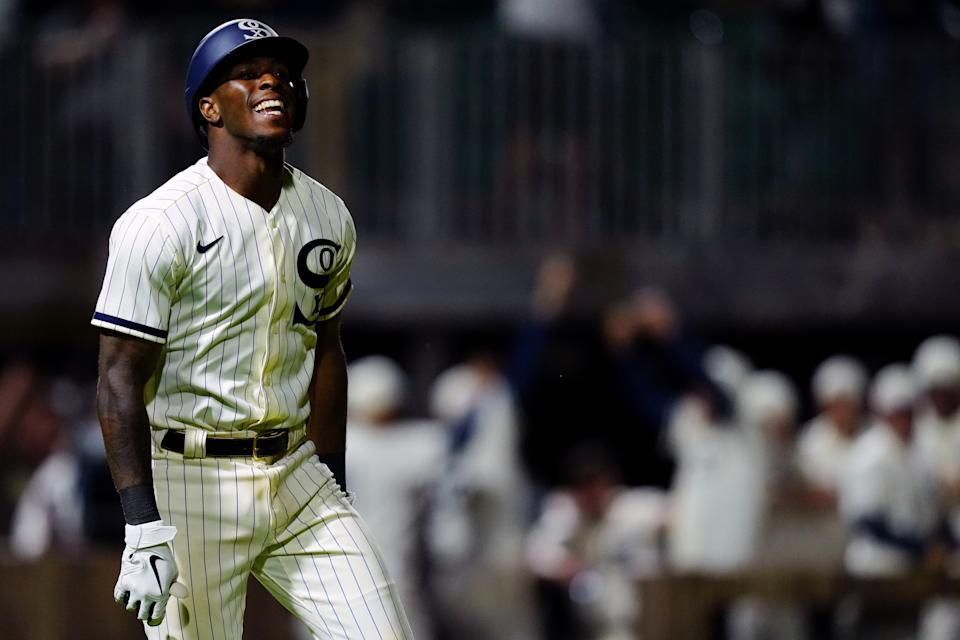 DYERSVILLE, IL - AUGUST 12: Tim Anderson #7 of the Chicago White Sox reacts to hitting a walk off two-run home run to beat the New York Yankees at the MLB Field at Field of Dreams on Thursday, August 12, 2021 in Dyersville, Iowa. (Photo by Daniel Shirey/MLB Photos via Getty Images)