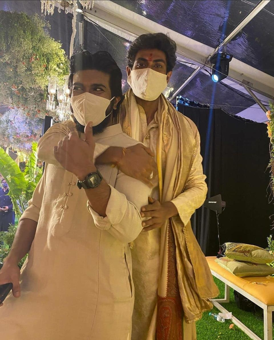"""Ram Charan posted this pic of him and Rana and the caption said """"Finally ! My hulk is married"""""""