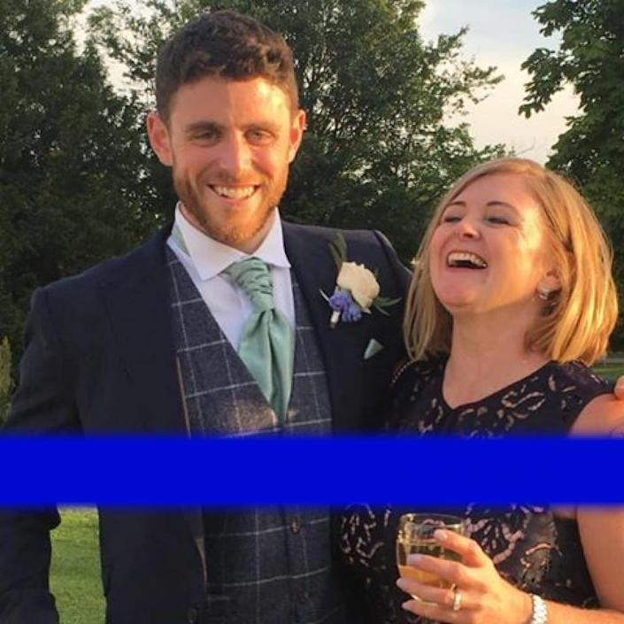 """Tragic: Deborah Adlam, here with her son Pc Harper, has said that the family """"will never recover"""" (Facebook)"""
