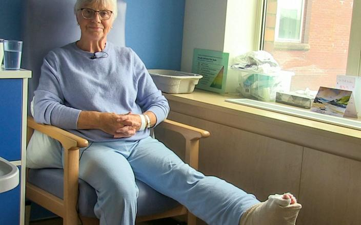 Jan Ritson describes the remarkable surgery and NHS team effort that saved her leg - NHS Golden Jubilee / SWNS.COM