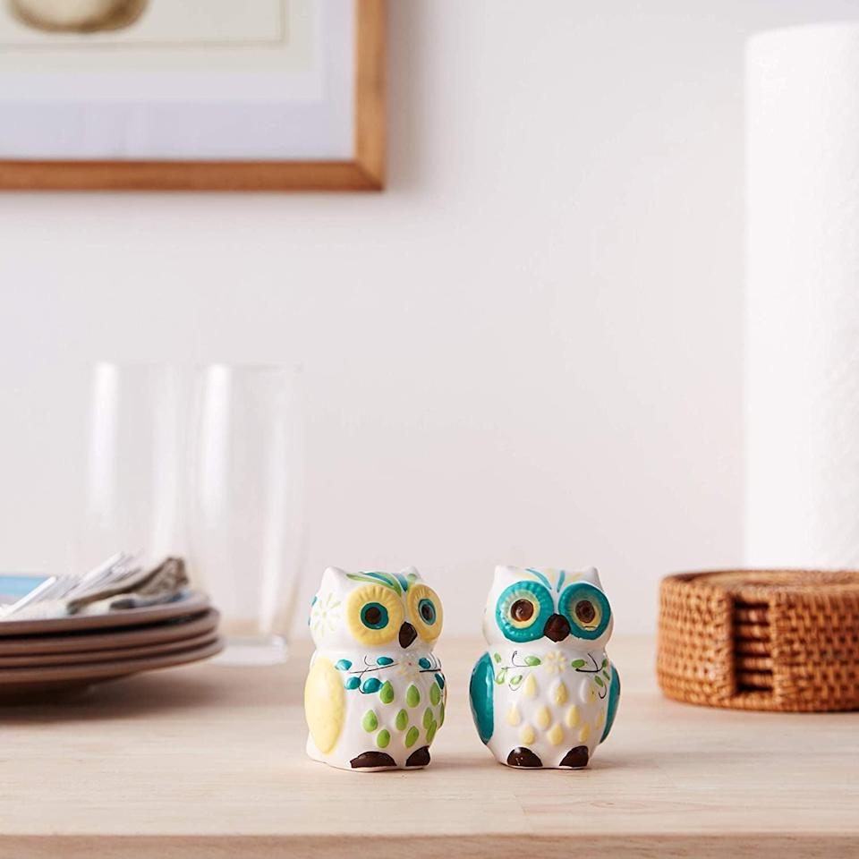 <p>Add a touch of quirk with these <span>Floral Owl Salt &amp; Pepper Shakers</span> ($12).</p>